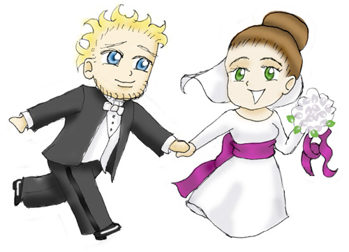 My original art for the wedding invitations.